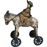 Charming Antique Cast Iron Horse on Wheels Children's Toy