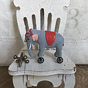 Amazing Artist Made Miniature of Dollhouse or Doll Steiff Style Elephant on Wheels