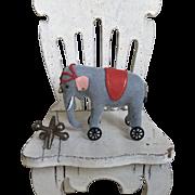 Amazing Artist Made Miniature of Dollhouse or Doll Steiff Style Elephant on Wheels