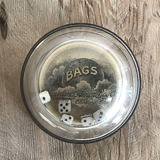 Antique Advertising Premium Glass Bubble Paperweight, Dice Roller Paper Bag Co.