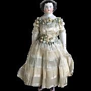 Antique All Original China Doll ~ Silk Dress, Rare Pink Lustre Shoes, Garters