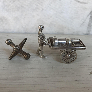 Antique Dutch Sliver Miniature Man with Steam Engine or Boiler on Working Cart