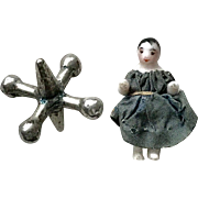 Wonderful Antique Miniature German Frozen Charlotte China Doll in Tiny Silk Dress