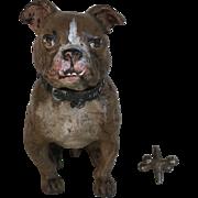 Beautiful Vintage Austrian Vienna Bronze Figural Bulldog Dog Inkwell