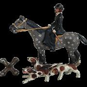 Wonderful Antique Vienna Austrian Bronze Woman on Horse with Dogs