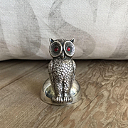Antique English Sterling Silver Figural Owl Place Card Holder w/Glass Eyes