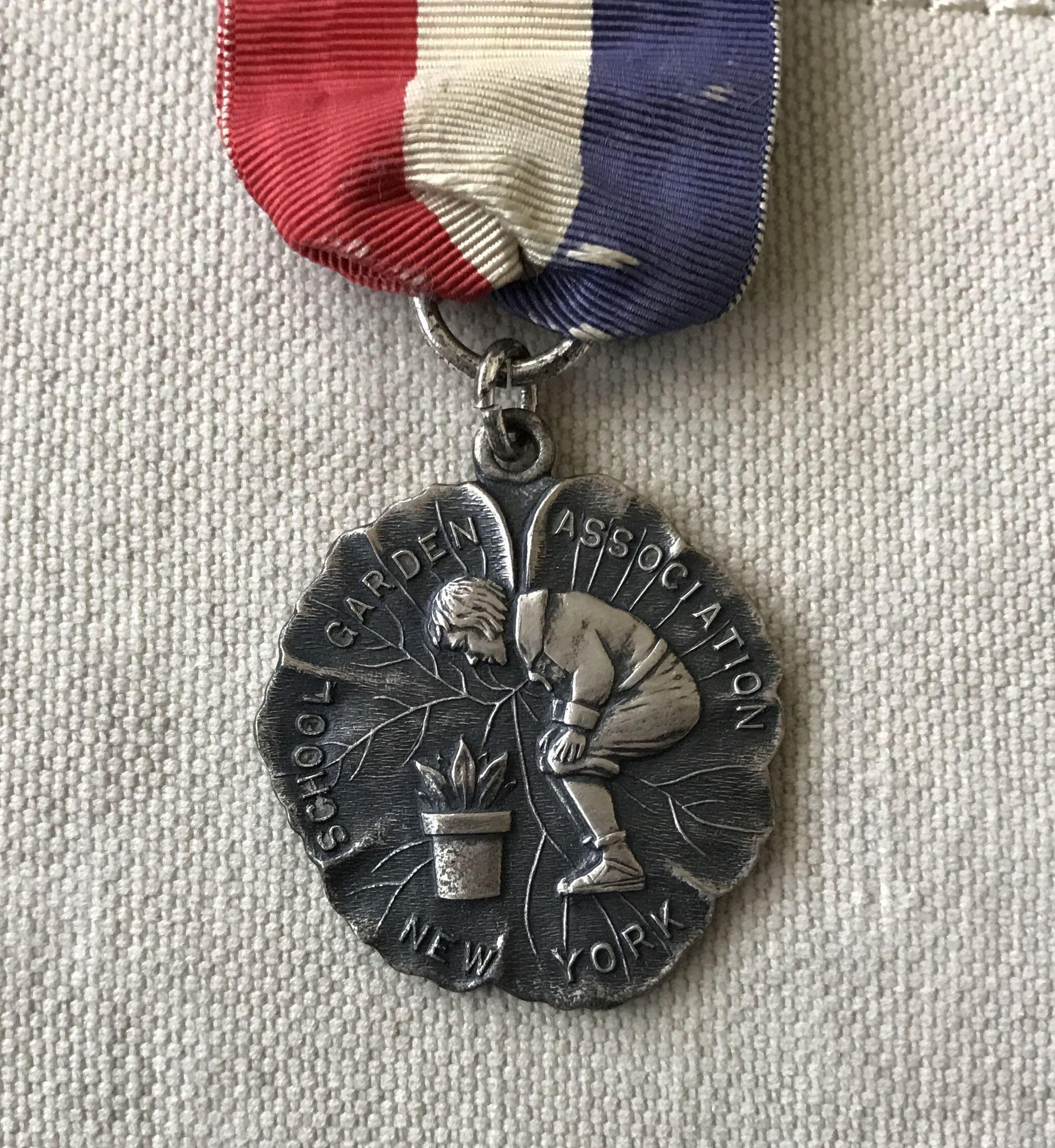 Charming Old Sterling Silver New York School Garden Association Medal & Ribbon