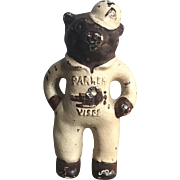 Wonderful Old 1930's Cast Iron Parker Vises Bear Advertising Paperweight