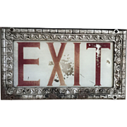 Wonderful Antique Reverse Painted Textured Glass Opera House Exit Sign