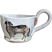 Hand Painted French Faience Style Pottery Mug by Julie Whitmore Adorable Dog!