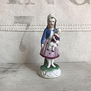 Beautiful Antique Staffordshire Little Girl Holding Jester Doll Fairing