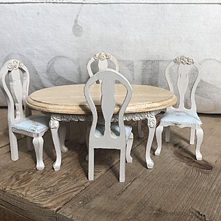 Charming 1:12 Scale Shabby Chic Dollhouse Miniature Dining Table, Chairs by Angie Illas