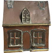 Wonderful Antique Copper & Brass Handmade House Folk Art Still Bank