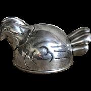 Charming Vintage NAPIER Sterling Silver Figural Hen Still Bank
