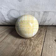 Wonderful Antique Ceramic Scottish Carpet Bowling Ball Yellow Plaid