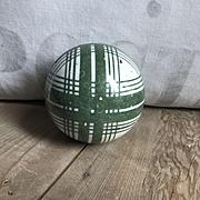 Handsome Large Antique Ceramic Scottish Carpet Bowling Ball Green Plaid