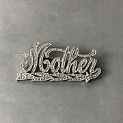 "Beautiful Vintage 1920's Sterling Silver and Marcasite ""Mother"" Pin"