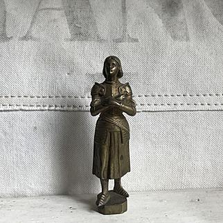 Wonderful Antique French Bronze Joan of Arc Wax Seal Louis RICHE