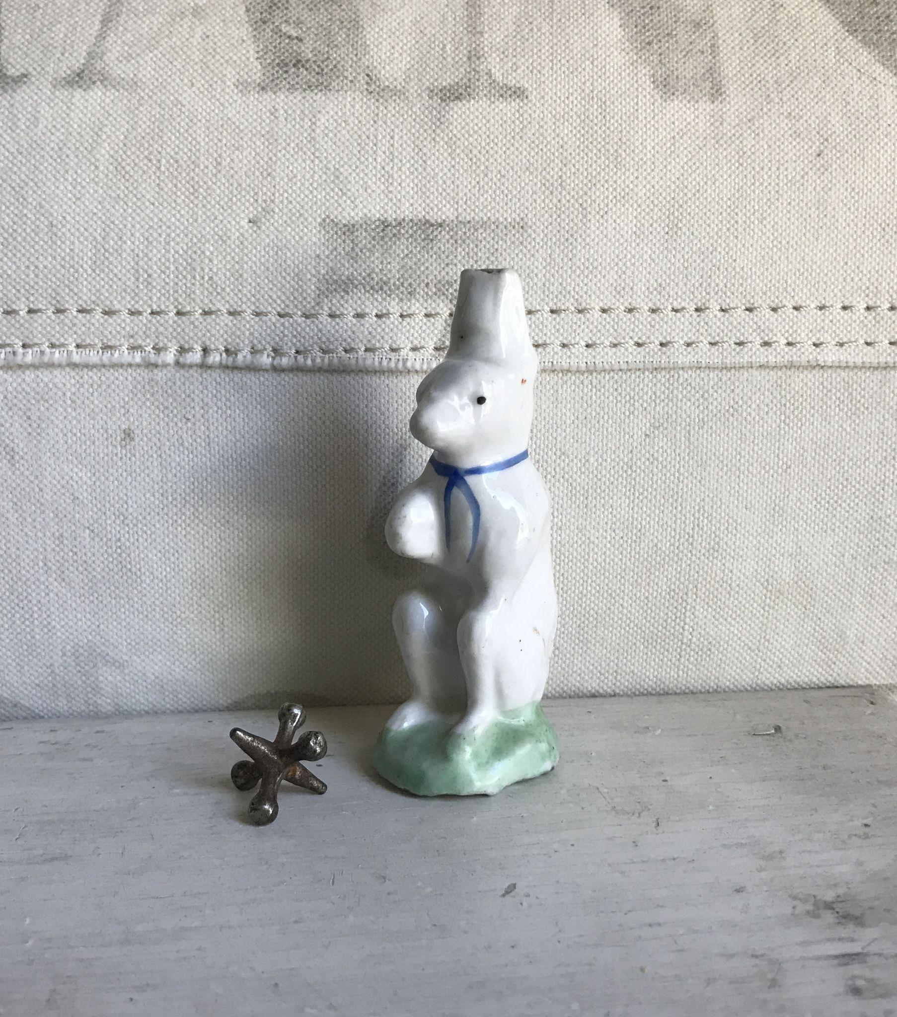 Wonderful Antique Staffordshire Porcelain Figural Rabbit Whistle