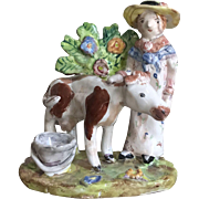 Hand Painted Staffordshire Style Figural Woman with Cow Pottery Figurine by Julie Whitmore