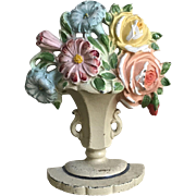 Beautiful Old Hubley Cast Iron Floral Roses Flower Bouquet Doorstop
