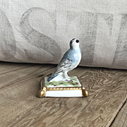 Charming Old Miniature French Porcelain Hand Painted Blue Bird Figurine