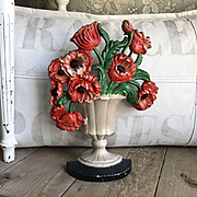 "Beautiful Old 1930's Hubley ""Poppies"" #440 Flower Bouquet Doorstop"