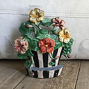 "Great Old Hubley Cast Iron ""Nasturtiums"" #221 Flower Pot Doorstop"