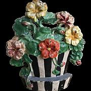 """Great Old Hubley Cast Iron """"Nasturtiums"""" #221 Flower Pot Doorstop"""