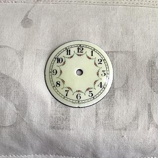 Beautiful Antique German Enamel Over Metal Clock Face Rose Swags