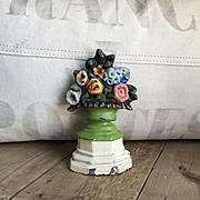 Charming Old Solid Metal Petite Flower Bouquet Doorstop