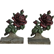 Romantic Old 1930's Cast Iron Red Rose Bookends
