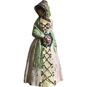 Charming Old Solid Cast Iron Woman in Bonnet with Roses Doorstop