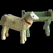 Charming Old Miniature German Erzgebirge Wood Sheep & Trough Putz Figurines