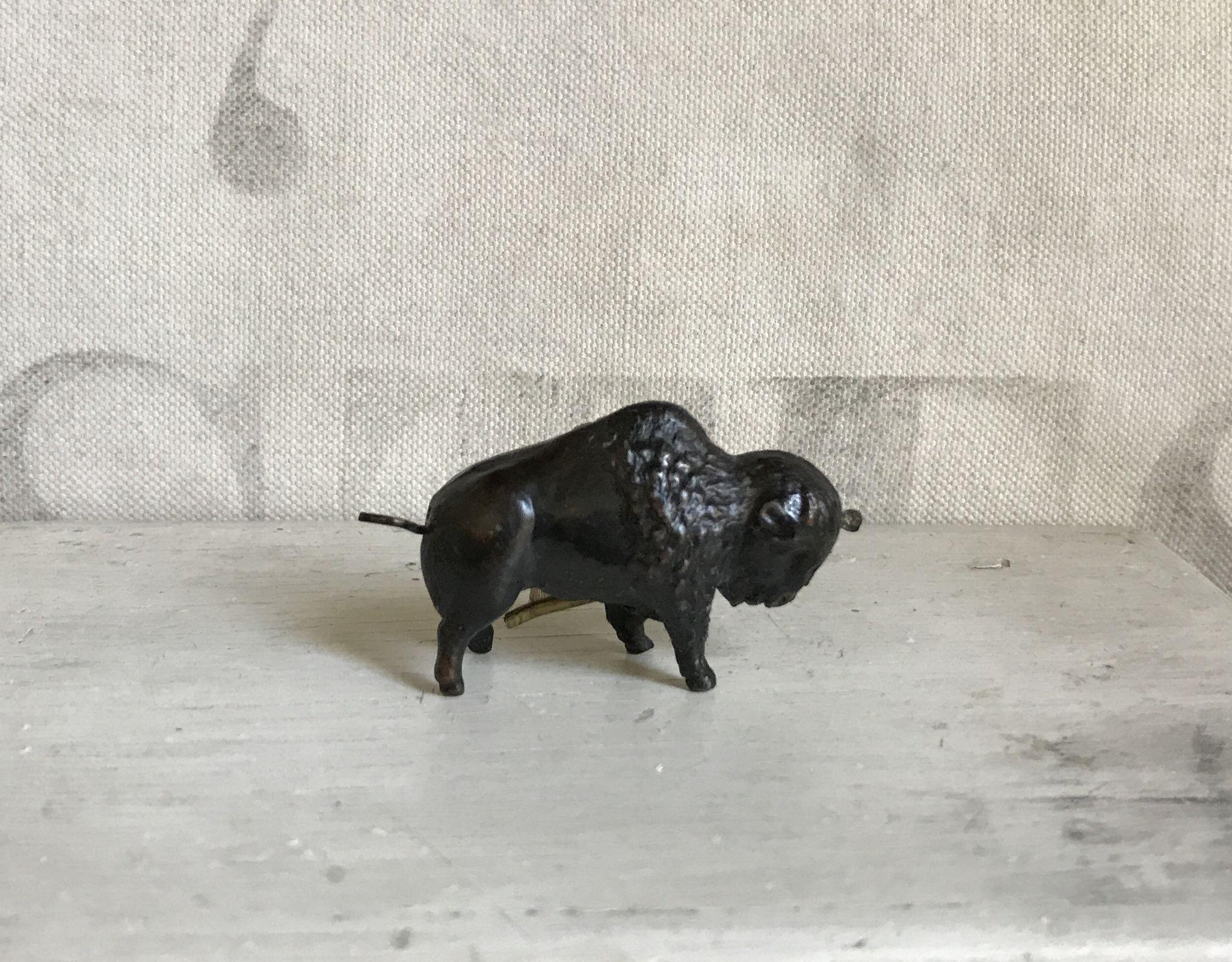 RESERVED FOR J Wonderful Antique Figural Metal Buffalo Tape Measure