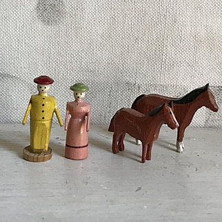 Charming Old Miniature German Erzgebirge Wood Lady & Gentleman Farmers with Horses Putz Figurines