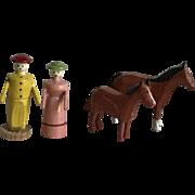 Charming Old Miniature German Erzgebirge Wood Lady & Gentleman Farmers with Horses Putz Figurines