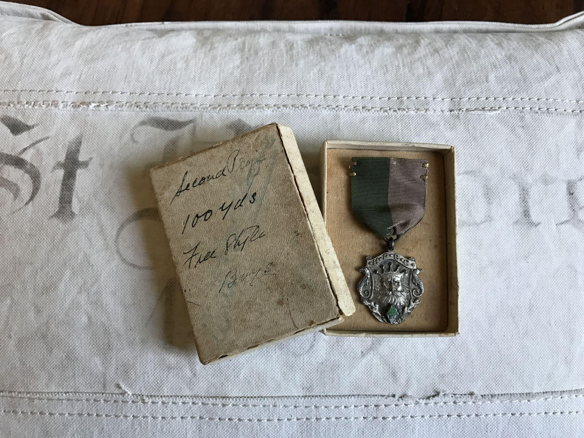 Great 1935 Sterling Silver Neptune 2nd Place Swimming Medal Award