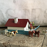 Wonderful Old Miniature Wood German Erzgebirge Noah's Ark Set