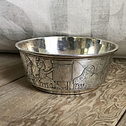 Charming Old Sterling Silver Blackinton Nursery Rhyme Baby Bowl