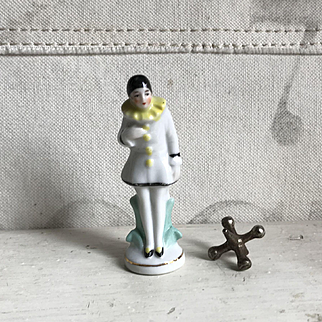 Beautiful Old Miniature German Porcelain Pierrot FigurIne
