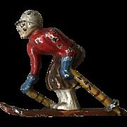 Wonderful 1940's Hubley Cast Iron Male Skier Paperweight Figurine