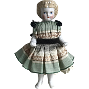 Gorgeous Antique Dressed Frozen Charlotte China Doll Molded Bow, Headband