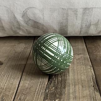 Attractive Antique Ceramic Scottish Carpet Bowling Ball Green Plaid