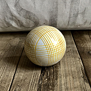 Handsome Large Antique Ceramic Scottish Carpet Bowling Ball Yellow Plaid