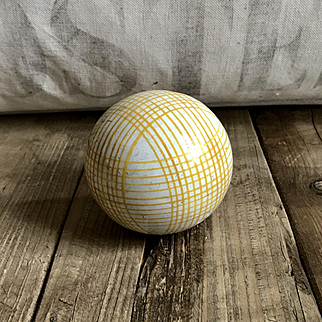 Handsome Large Antique Ceramic Scottish Carpet Bowling Ball Yellow Plaid