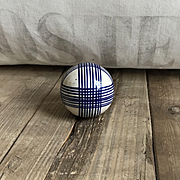 Wonderful Antique Ceramic Scottish Carpet Bowling Ball Blue Plaid