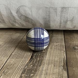 Wonderful Antique Ceramic Scottish Carpet Bowling Ball Blue Plaid