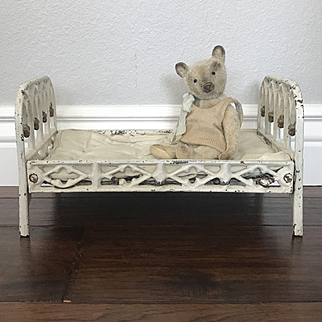 Charming Antique Cast Iron Doll or Teddy Bear Bed with Original Mattress