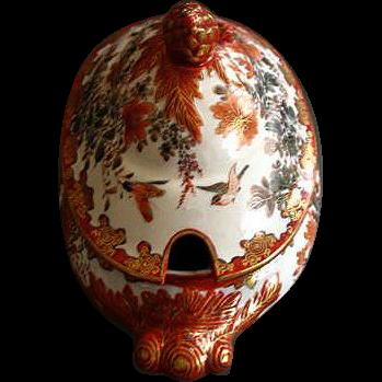 Vintage Japanese Kutani Porcelain Covered Sauce Tureen
